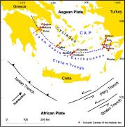 south aegean volcanic arc and tectonic setting of santorini after friedrich 1994 decadevolcano net