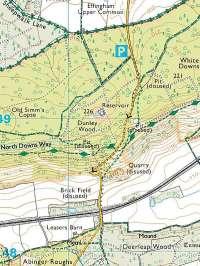 white down climb abinger hammer surrey england streetmap co uk