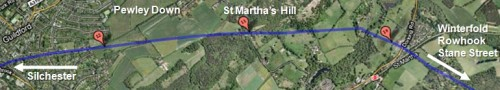 roman road chilworth st martha guildford surrey england satellite view by roadsofstone