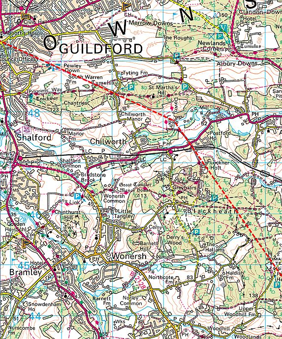 Guilford England Map.225 Running On Roman Road 2 From Stane Street To Guildford
