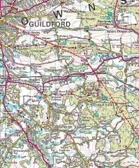 winterfold to guildford map of roman road surrey england by roadsofstone