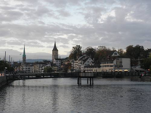 october morning  fraumünster and st peter river limmat zürich switzerland by roadsofstone